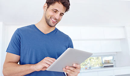 picture of a man and a tablet